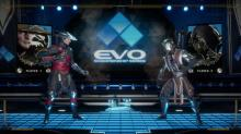 Raiden and Noob Saibot duke it out on the colorful Tournament Stage.