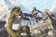 A monk gives a flying ki powered kick to a terrible ugly monster