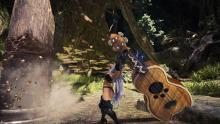 This is exactly what it feels like to play Hunting Horn. While sadly there is no oversized guitar in the game right now, there's a mod for PC that allows you to turn a Hunting Horn into one. Image courtesy of Ubergrainy.