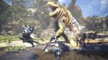 A Bow, Greatsword, and Charge Blade take on a Great Jagras.