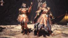 The female armor reminds me of the Dragoon armor during the Final Fantasy event. I also dig the dragon skin skirts.