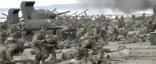 The historical assault on Omaha Beach begins.