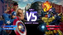 Captian america and Ryu about to fight their next match against Dormammu and Thanos