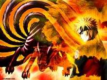 Naruto and his demon mode in a fan art.
