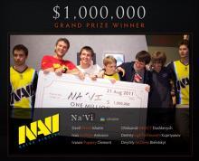 Team Na'Vi, winners of the very first International tournament.