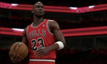 Jordan gathers the ball.