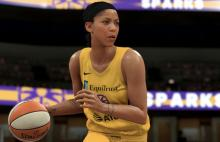Candace Parker dribbles the ball.