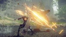 2B performing a combo against a group of robots