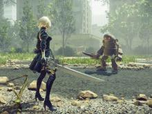 2B anxiously waits for her opponent to make the first move.