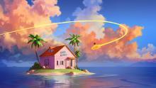 Goku riding nimbus to tropical hut