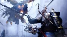 The main character in Nioh stands ready to fight against a giant bird monster