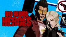 Travis Touchdown and Sylvia Christel on the cover
