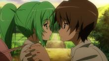 Keiichi and Mion as they lock lips.