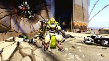 Orisa standing in the Numbani airport, which was attacked by OR15 units.