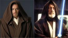 Obi-Wan as he appears in Attack of the Clones and A New Hope