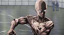 Saitama showing of his muscles for the hero exam