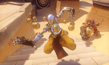 Zenyatta and Torbjorn attacking on Temple of Anubis