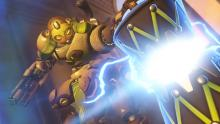 Orisa uses her Ultimate in the middle of the fight to boost the damage output of her allies.