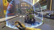 Orisa places her shield, which is one of her abilities.