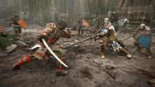 An Orochi dashes towards a Warden, ready for battle