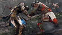 An Orochi runs his katana through a Warden's chest
