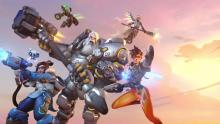 Reinhardt, Tracer, Mercy, Mei, and Lucio charge into battle