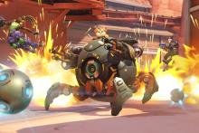 Wrecking Ball specializes in pushing enemies into his explosive mines
