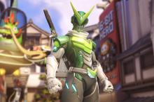 Genji's Sentai skin makes him look like a Power Ranger.
