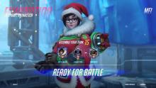 A festive Mei gets ready for an Elimination round in Ecopoint: Antarctica.