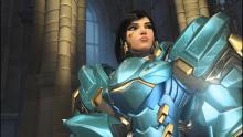 Pharah uses her Victory Pose in a highlight of the game.