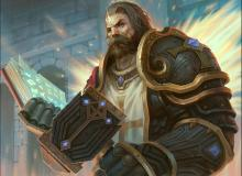 A Paladin holds a hammer and a book, which he reads from