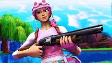 The bright-colored Pastel skin wields a pump shotgun to take down her opponents.