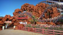 This rollercoaster was built with hundreds of rock and wood pieces