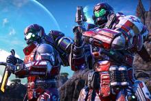 Engage in first-person warfare in Planetside.