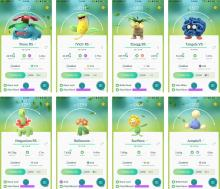New Grass-type Pokemons from the Pokemon GO 'Worldwide Bloom' event in May 2017.