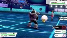 A Pokémon Sword And Shield battle on the Nintendo Switch.
