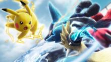 Pikachu and Mega Lucario face off in a heated battle!