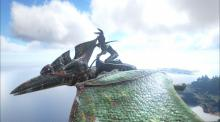 The Pteranodon taking to the skies scouting for bases full of loot to raid and players to attack.