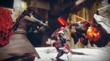 A Warlock with their Riskrunner provides backup to a Titan