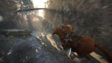 A Raider rides a horse in the Story mode of For Honor