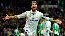 Sergio Ramos scores a goal for Real Madrid and celebrates