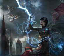 An artificer of Ravnica conjures and calls lightning in a rain storm.