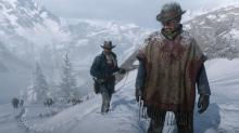 Arthur Morgan and another character in Red Dead redemption 2 with their guns