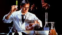 Protagonist of Re-Animator experimenting with a severed head