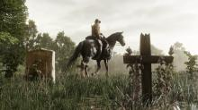 A player slowly rides his horse through a graveyard.