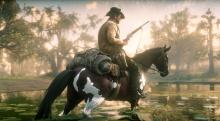 A player rides through the swamp with an alligator pelt on his horse.