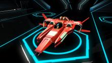 This classic fighter is a bright, firey red, perfect to showcase on your freighter.