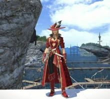 A Red Mage posing in Limsa Lominsa