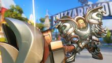 Reinhardt uses his ultimate, Earthshatter on the Blizzard World map