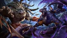 Fan art of Rengar and Khazix dueling, featuring the classic rivalry of apex assassins.